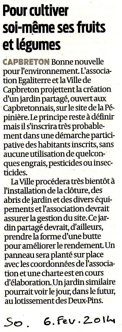 article SUD OUEST 6/02/14  jardin de la Pépinière